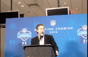 Rams head coach Jeff Fisher meets with the media on Friday afternoon at the NFL Combine in Indianapolis. Fisher and his staff will return to Indianapolis later in 2013 for a regular season matchup with the Colts.