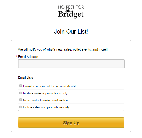 No rest for bridget email sign-up from