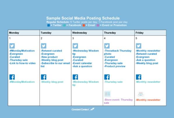 Sample Social Posting Schedule