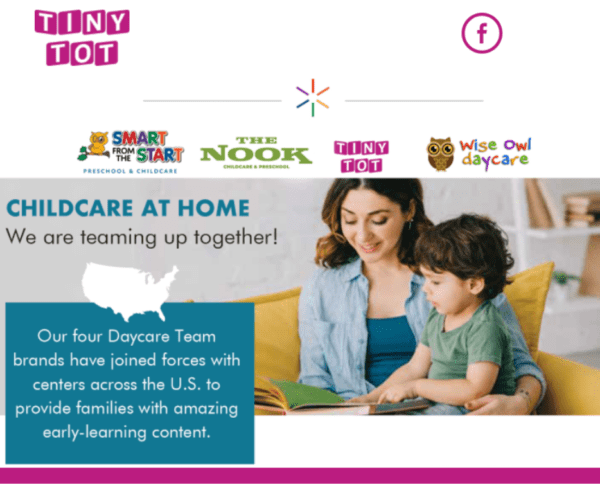 Childcare email marketing example