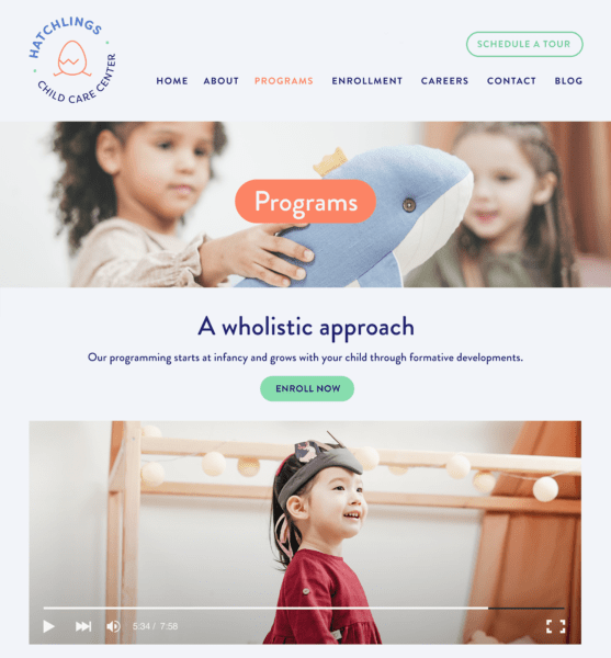 Example daycare website - Programs page