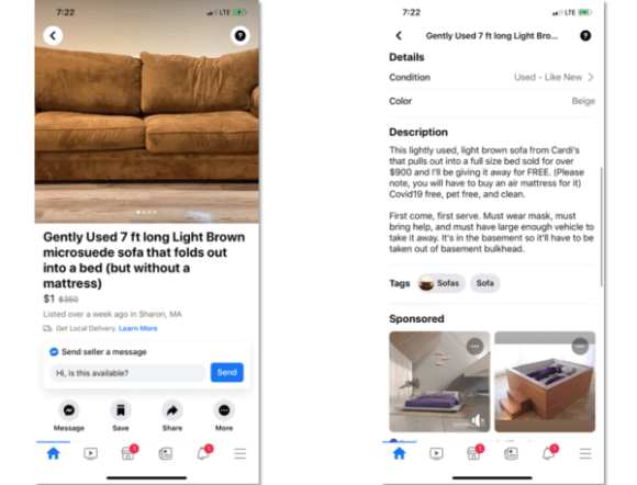 product description of brown couch on facebook marketpace
