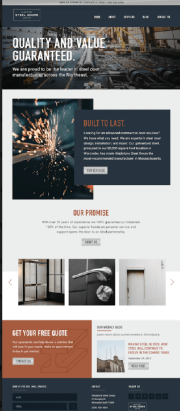 What makes a great manufacturer website? A great homepage with a solid call to action