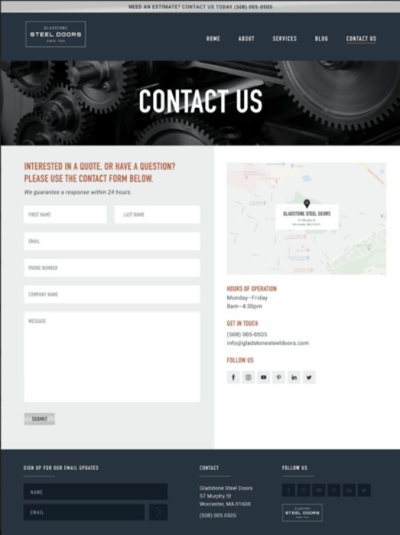 What makes a great manufacturer website? One with a Contact page that let's people know when and how they can connect with you