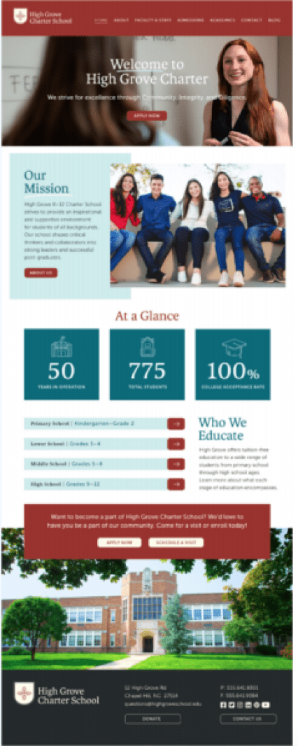 school branding includes a website that reflects the brand