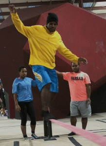 Aimur Pagawak maintains balance on a slackline