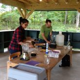 Janani and Roli leading a DNA extraction exercise