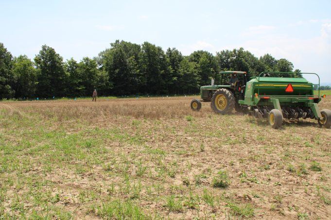 No-till drill seeding the summer annual forage plots in Beltsville MD.