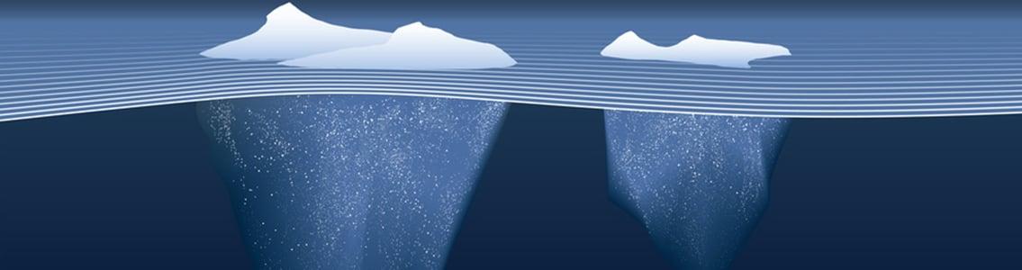 icebergs under water