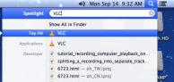 Spolight menu, Type VLC