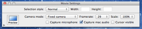 Snapz Movie options