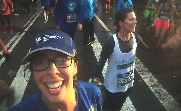 Shoshana Weiner after crossing the 2017 New York City Marathon finish line