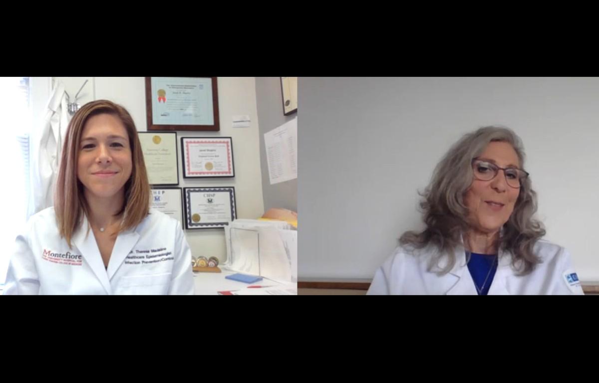 Liise-Anne Pirofski, M.D., talks to Theresa Madaline, M.D.