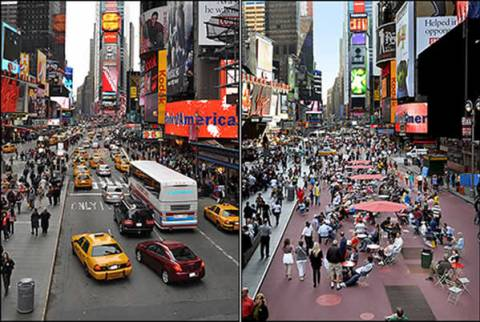 Times Square antes y después de Gehl; vía The Copenhagen Post