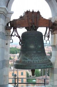 One of the seven bells in the tower