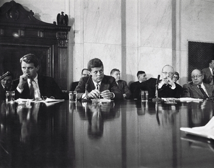 edward-clark-president-john-f-kennedy-robert-f-bobby-kennedy-senators-carl-mundt-and-carl-curtis-during-labor-rackets-hearing-on