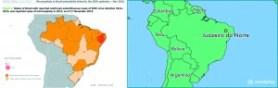 A la izquierda, un mapa que indica en amarillo las zonas donde se reportan casos de zika, en rojo los casos de microcefalia en bebés. A la derecha, un mapa con la ubicación de Juazeiro, epicentro de liberación de zancudos transgénicos.