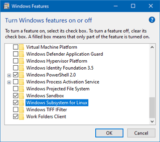 Turn Windows Subsystem for Linux feature on