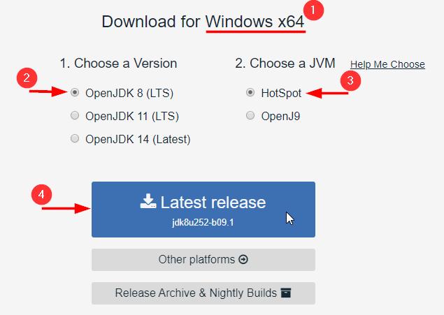 Downloading AdoptOpenJDK
