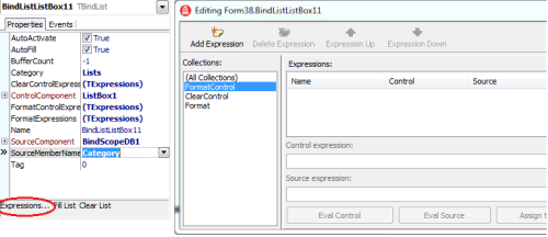 BindList1 Expressions Editor