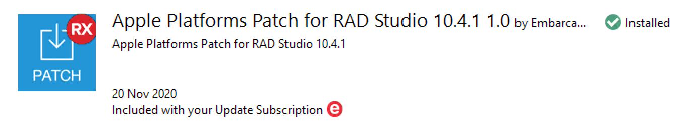 Apple Platforms Patch for RAD Studio 10.4.1
