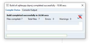 SQLiteCpp build completed