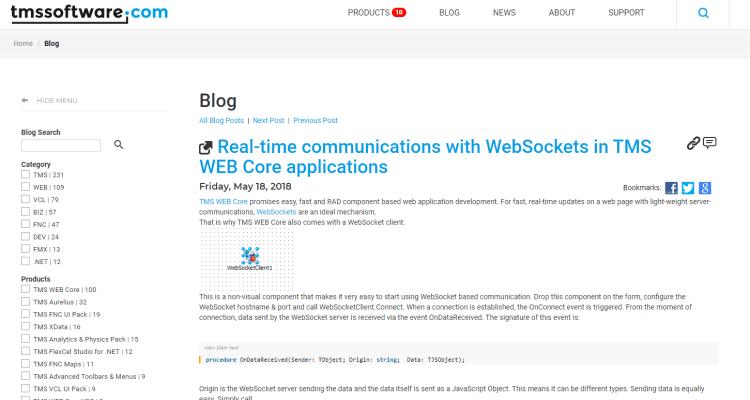 TMS WEB Core contains websockets for Delphi