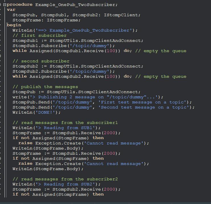 Example Delphi STOMP client source code