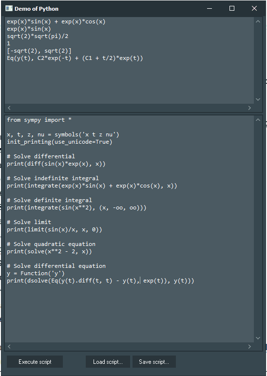 SymPy Demo with Python4Delphi in Windows.