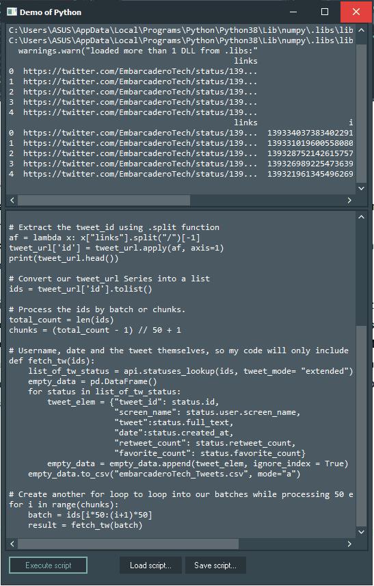 Tweepy Demo with Python4Delphi in Windows.