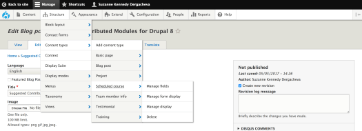 Admin toolbar dropdown menu