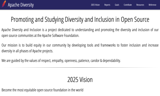 homepage of Apache diversity showing textual information on their mission and vision for encouraging diversity and inclusion in their project development works