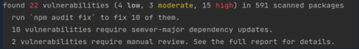 Result of the npm-audit command checking the package.json during the JavaScript libraries review