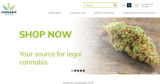 The home page of Cannabis Yukon is shown.