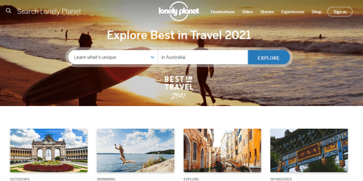 The homepage of Lonely Planet can be seen.