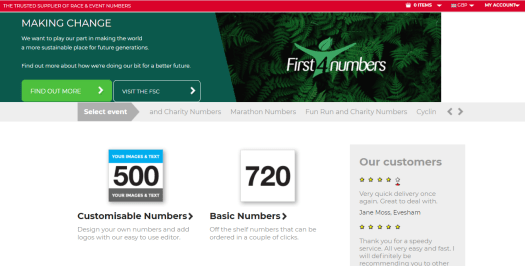 The homepage of First4Numbers can be seen.