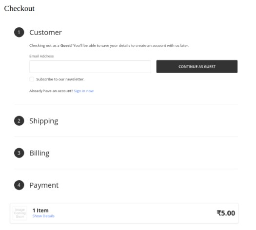 Drupal's checkout page with embedded BigCommerce checkout form
