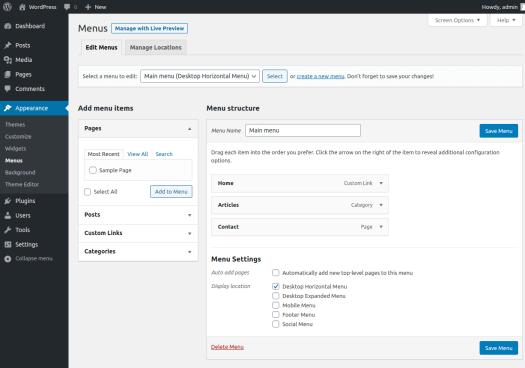 WordPress menu management