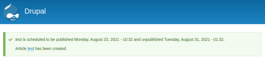 Scheduled publication notification from the Scheduler module