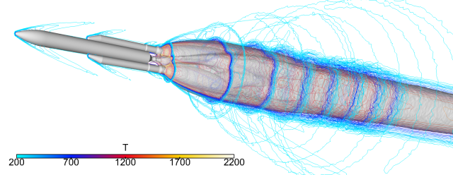 Isolines of temperature surrounding Ariane 5 and its plume. Computed by Onera using the CEDRE CFD code