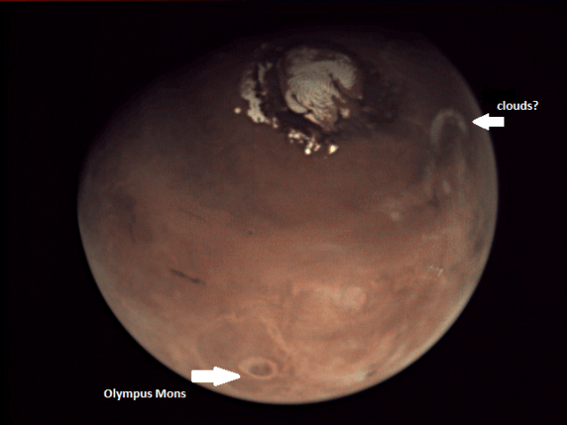 Mars seen at 01:53:24 UTC on 16 May 2014. Credit: ESA