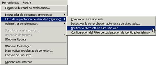 Denuncia de Phishing en Internet Explorer 7.0
