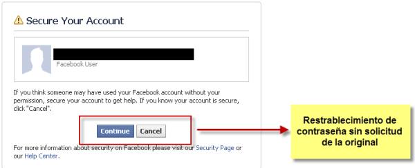 Facebook Vulnerabilidad sin contraseña