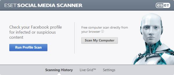 ESET Social Media Scanner - Análisis del perfil