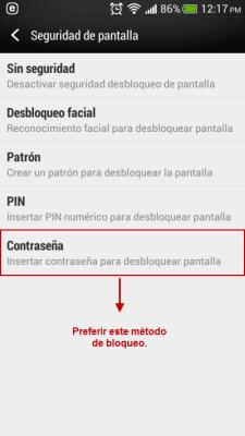 Bloqueo Android más de cuatro caracteres