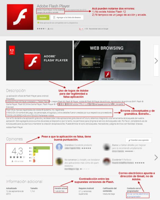 Captura falso Adobe Flash Google Play (chico)