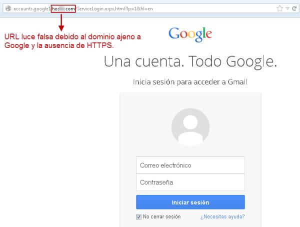 Sitio phishing Gmail