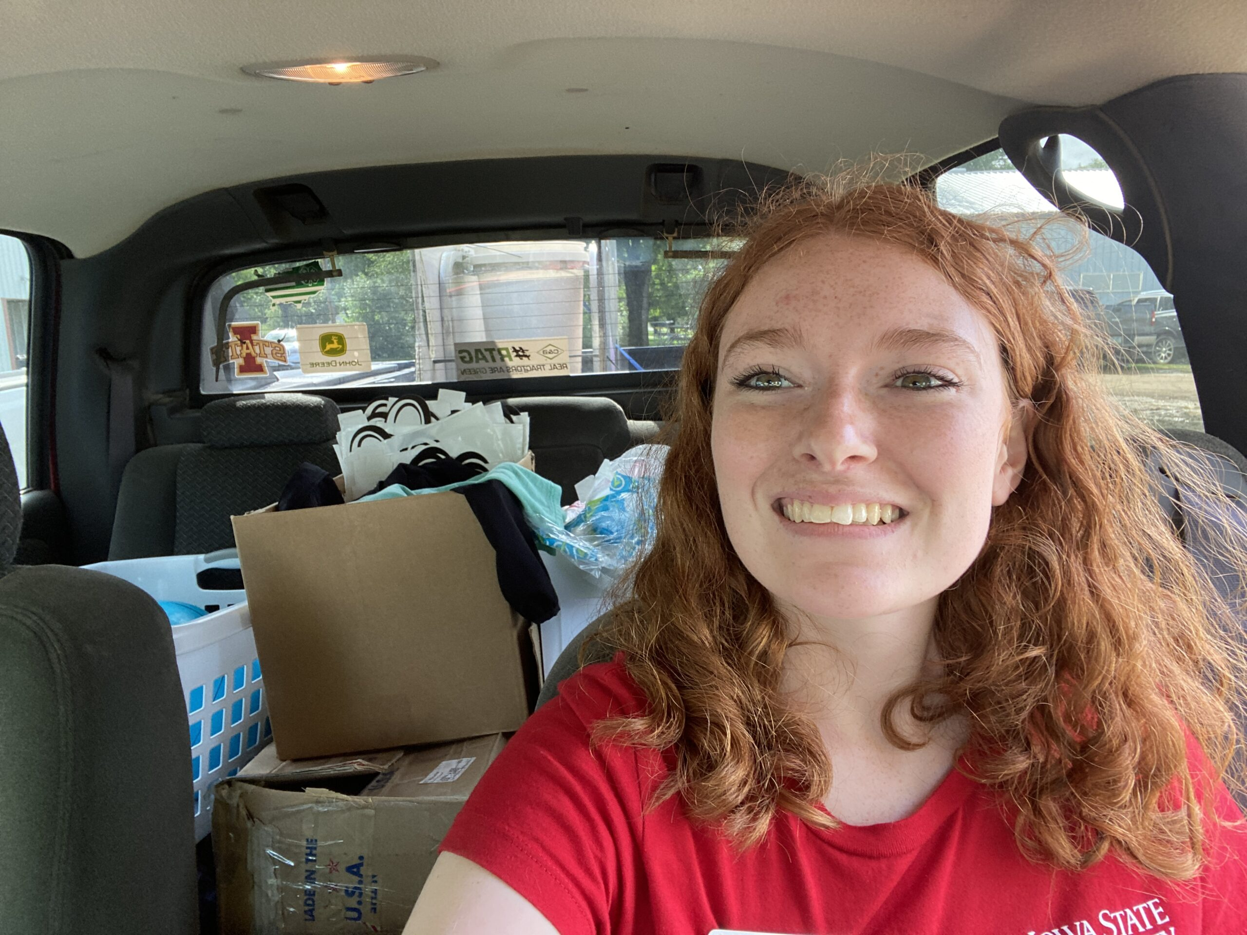 Alex with her full backseat