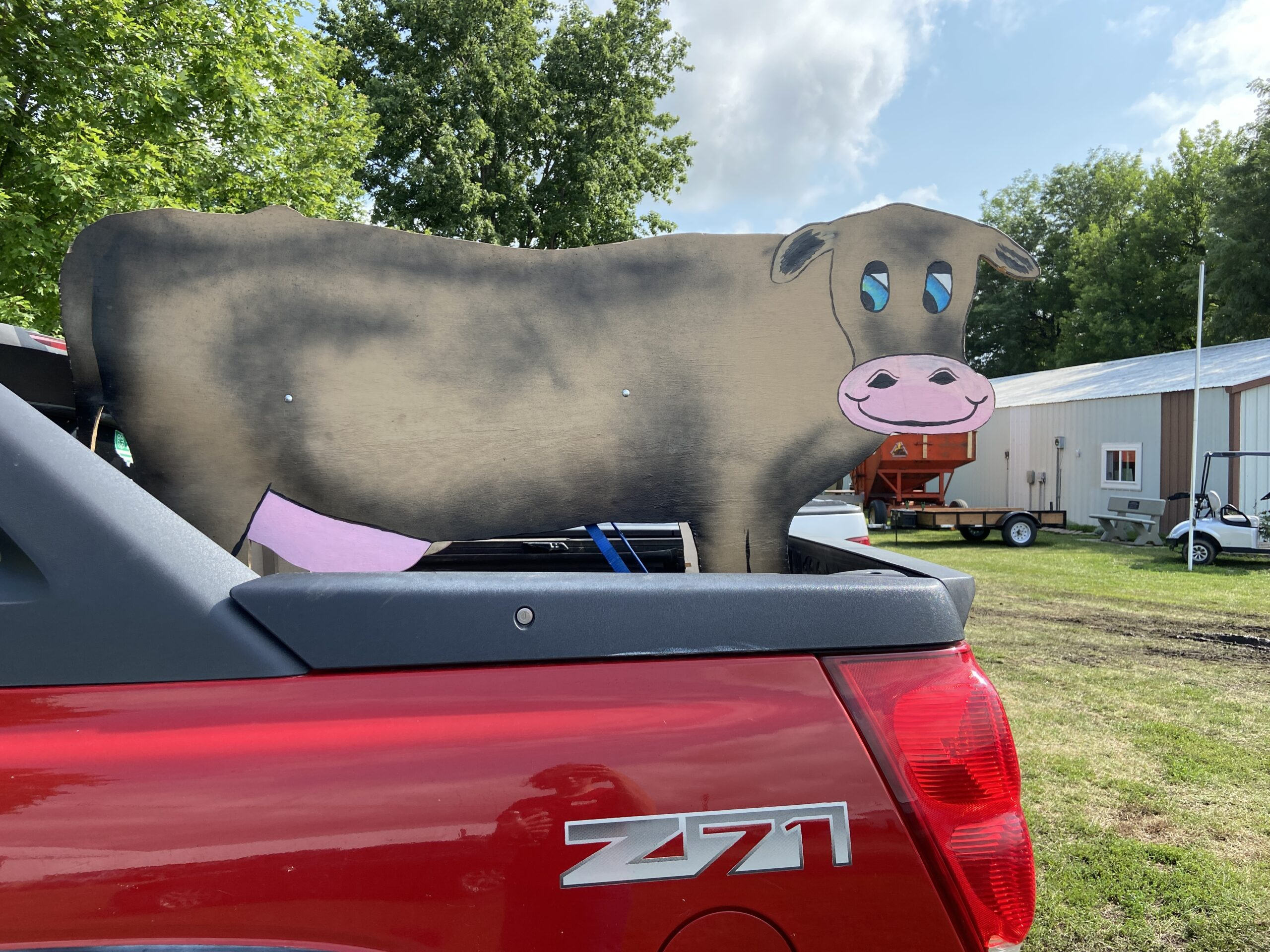 pickup with model cow in back