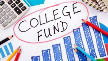The words College Fund circled in red surrounded by graphs, calculator, books and pencils.